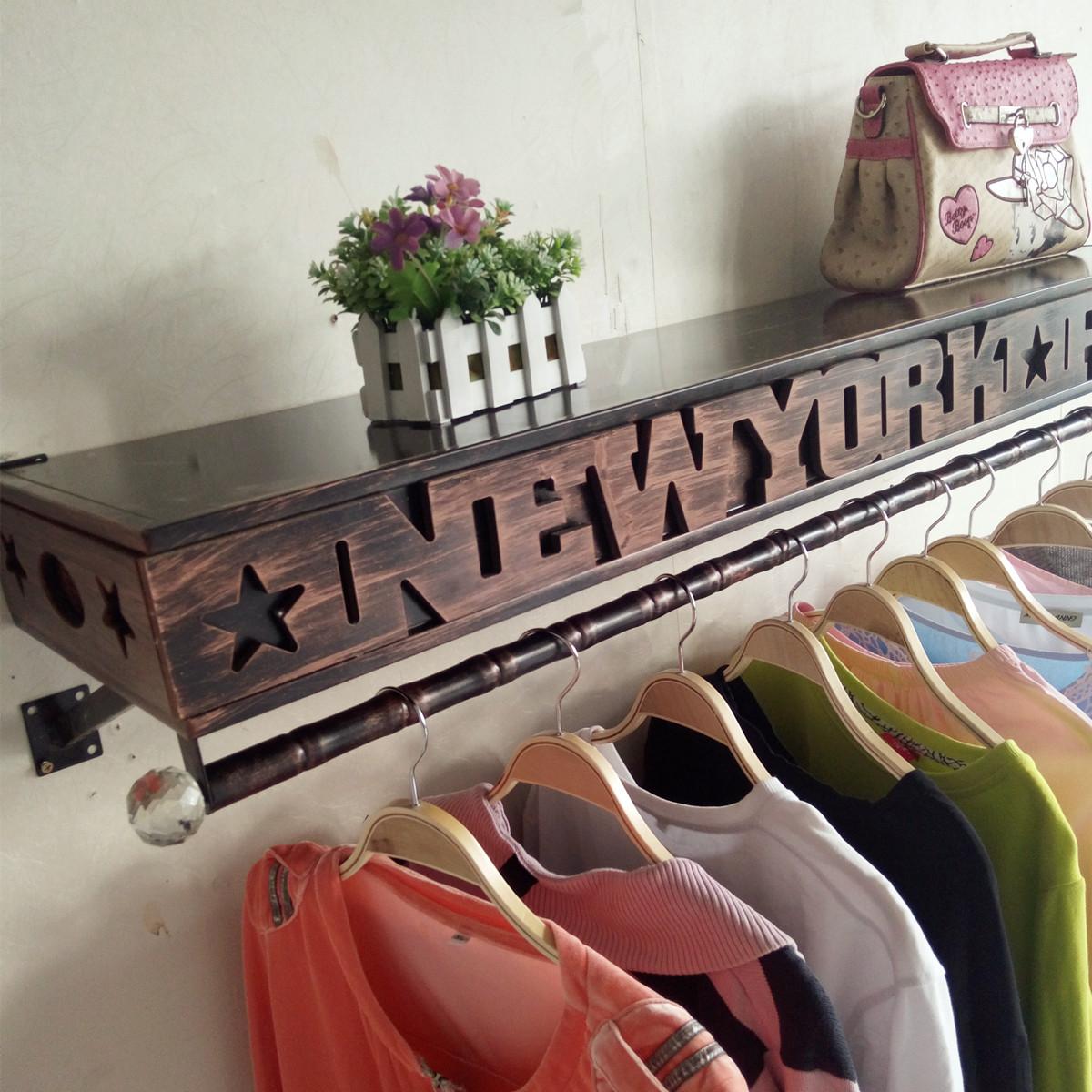 铁艺复服装架服装店衣架展示架上墙货架女童装侧挂壁挂式衣服架子