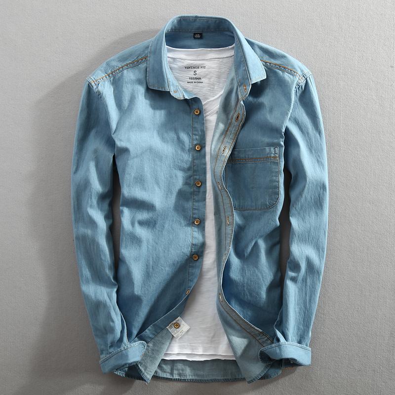 满5元可用5元优惠券秋季男士长袖牛仔衬衫纯棉宽松牛仔衬衣休闲蓝色青年牛仔服外套潮