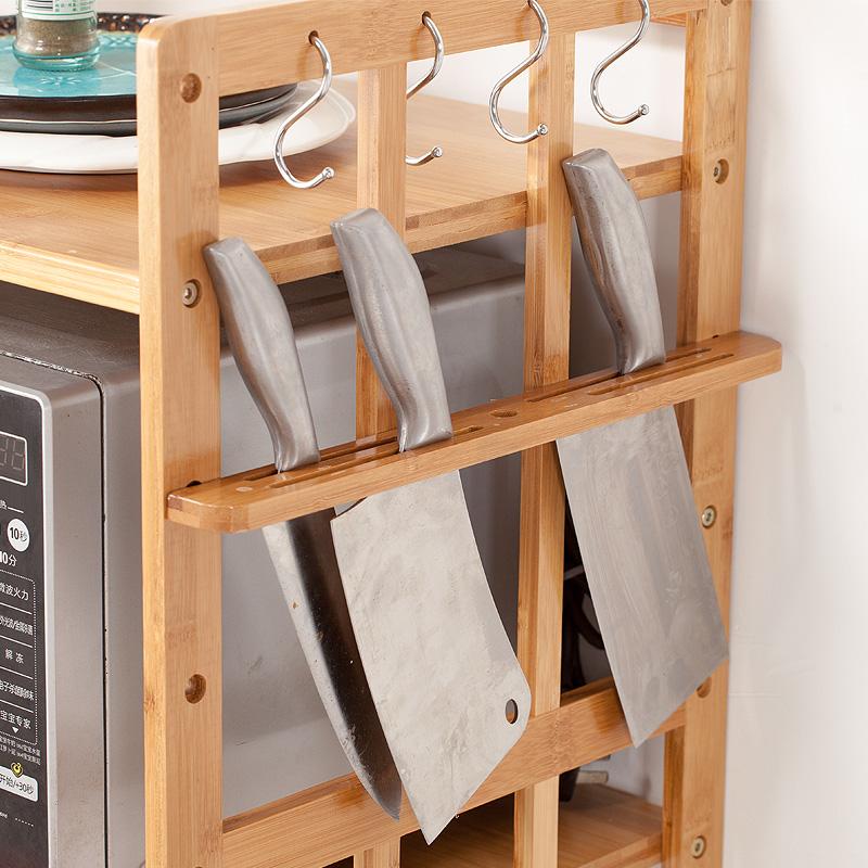 厨房微波炉置物架多层简易约烤箱架实木收纳不锈钢落地电器竹柜子