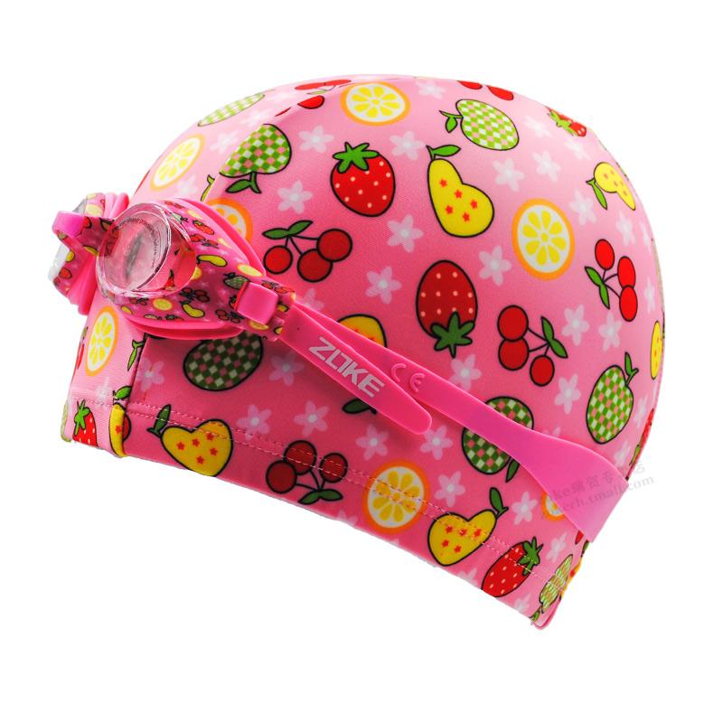 洲克儿童泳镜泳帽套装可爱水果花眼镜女童泳镜硅胶帽专业防雾防水