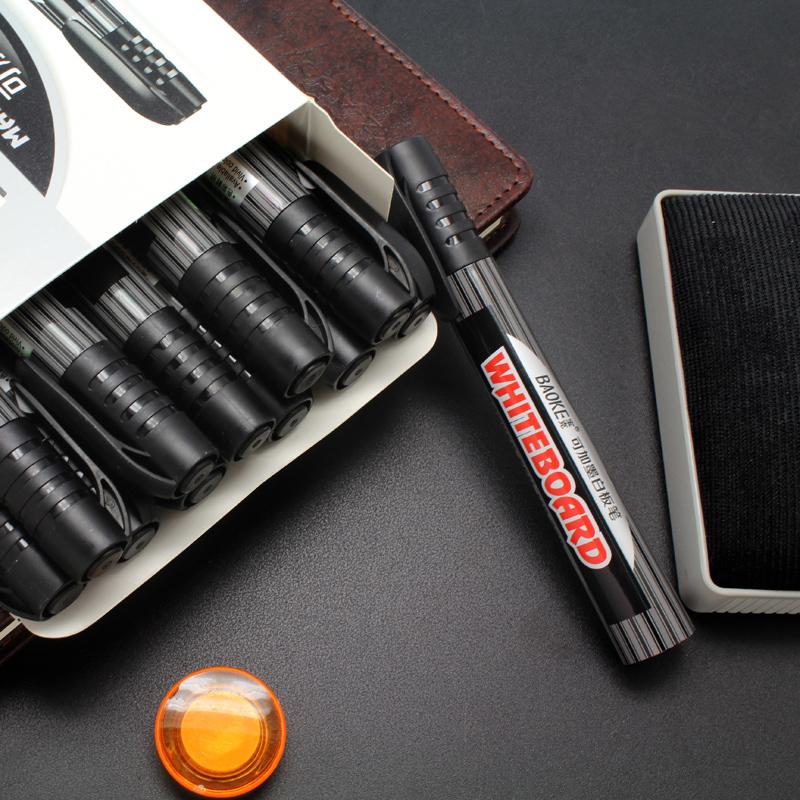 宝克白板笔黑色水性可加墨水可擦儿童彩色红蓝黑板笔教师用大容量写字板笔画板笔易擦粗头白版笔办公用品批发