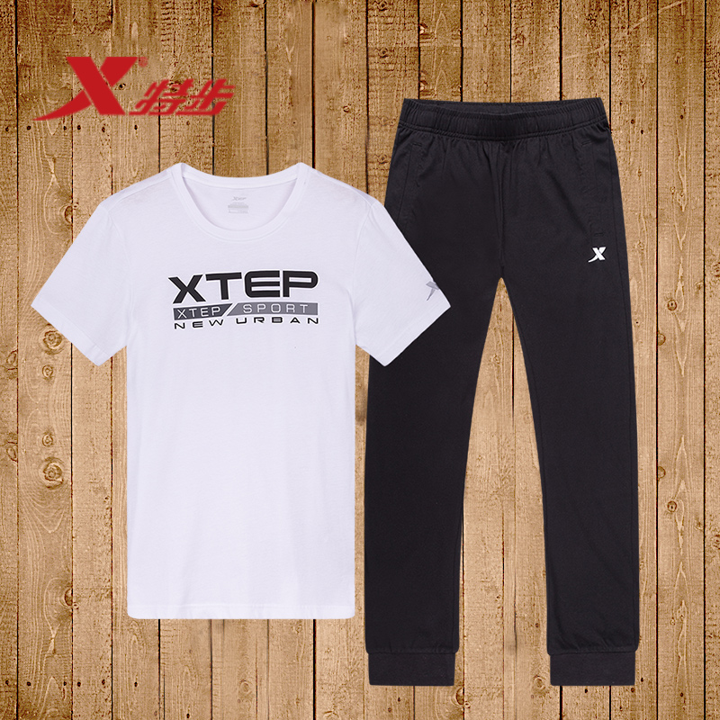 特步运动套装男装 夏季运动服男士速干跑步健身短袖T恤长裤两件套