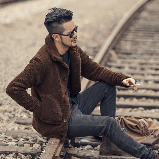 秋冬新款男装毛绒立领外套 型男摇粒绒男款毛领抓绒立领夹克F7135