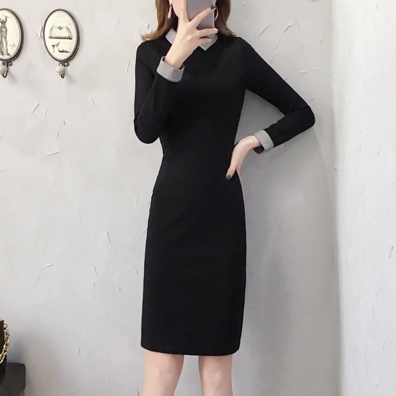 黑色连衣裙2020新款女装OL职业包臀裙子气质名媛法式复古裙装秋冬