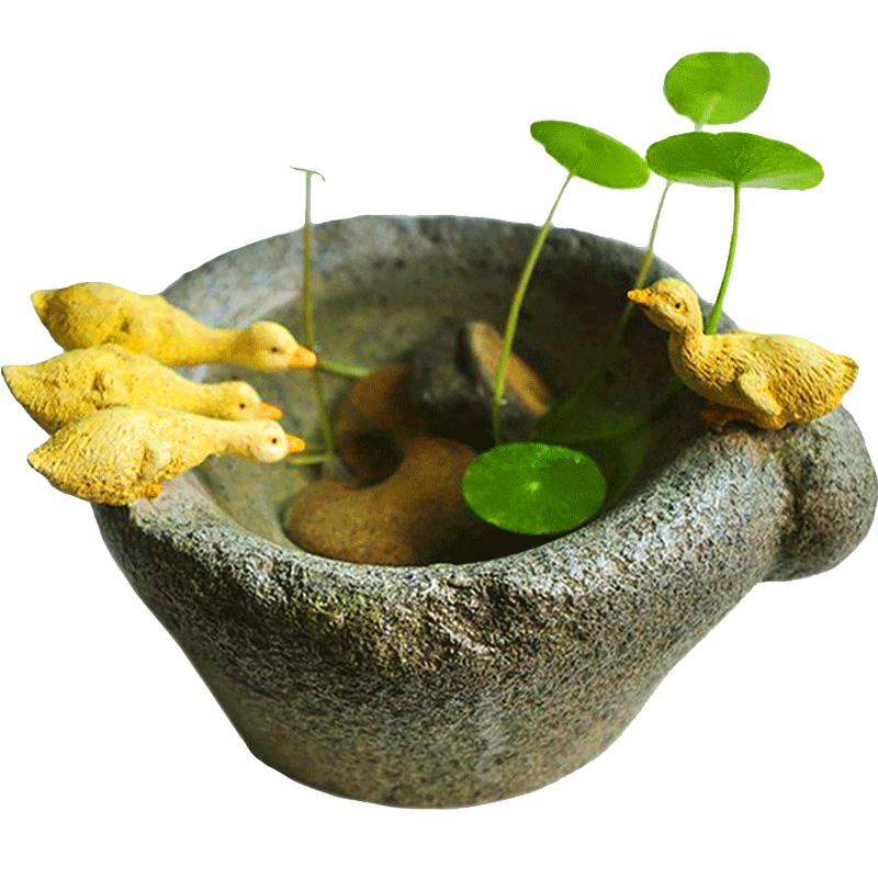 创意铜钱草水培小鸭子花盆摆件个性禅装饰仿石臼多肉植物盆栽礼物