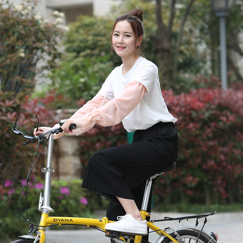 夏季防晒袖套骑车开车薄长款女防紫外线雪纺蕾丝套袖护袖户外旅行