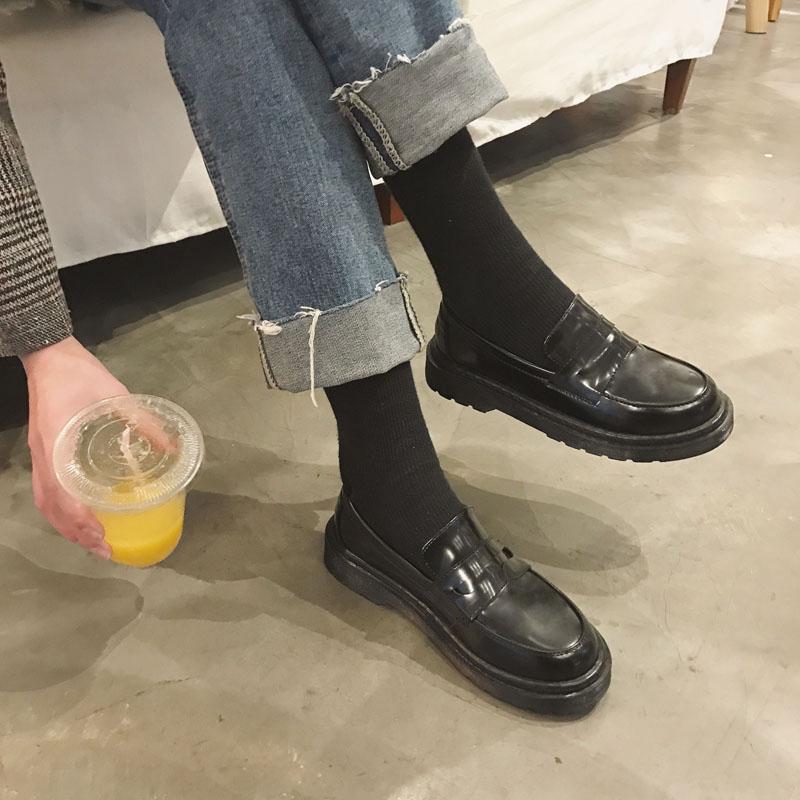 英伦风女鞋黑色小皮鞋简约百搭平底单鞋小皮鞋女夏季新款乐福鞋女