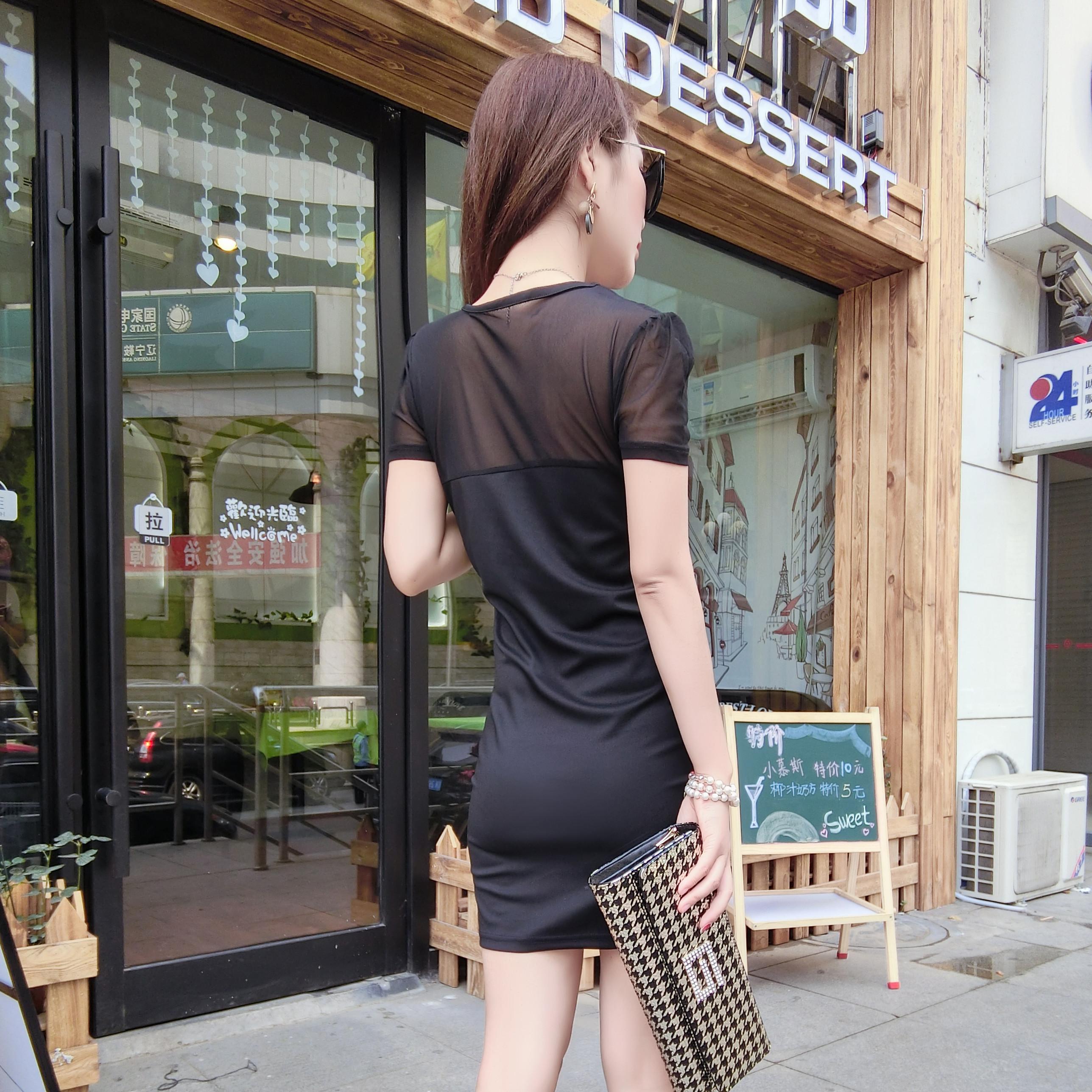 秋季新款网纱拼接娃娃领显瘦修身名媛淑女短袖大码连衣裙包邮 2016