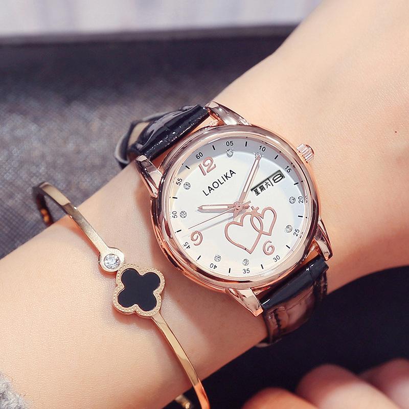 时尚心形手表镶钻双日历女表防水皮带休闲四叶草日期星期腕表女士
