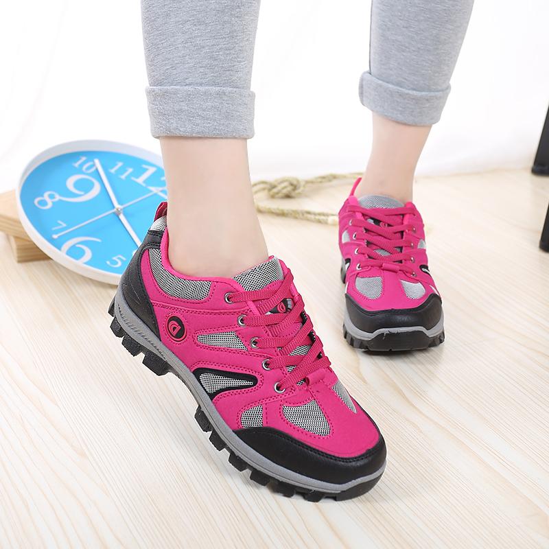秋季登山鞋女防水徒步鞋防滑运动旅游鞋户外鞋透气女鞋软底爬山鞋