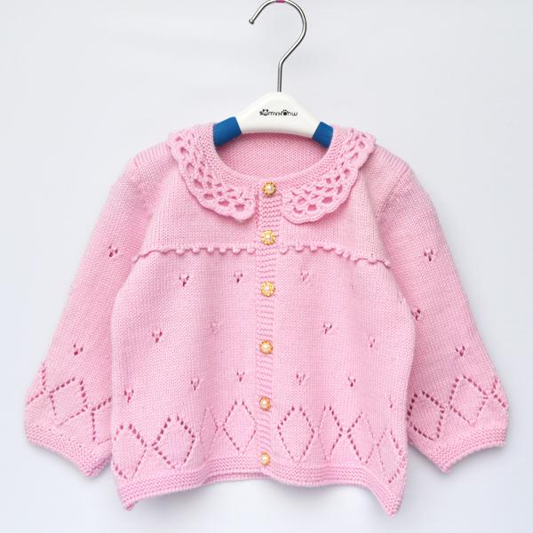 手工编织婴幼儿童装羊毛线衣 镂空领宝宝保暖厚开衫 长袖圆领外套