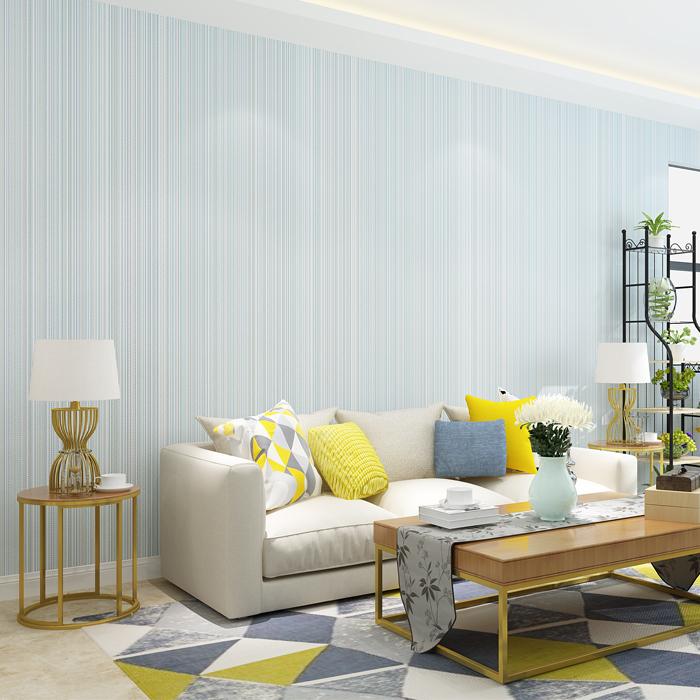 墙贴自粘壁纸 3D 轻奢无纺布纯色素色米黄条纹墙纸卧室客厅酒店宾馆