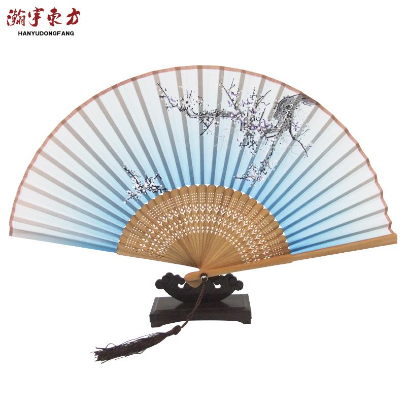 瀚宇東方中國特色女士絲綢中國風工藝古風蘇杭摺扇出國禮品送老外