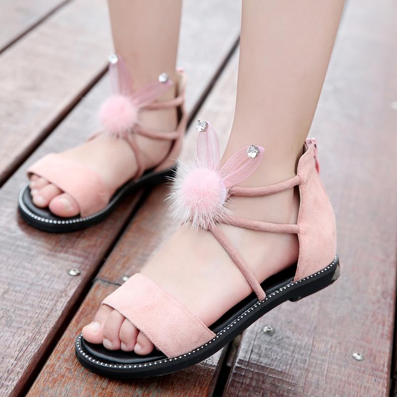 女童凉鞋2019新款韩版夏季公主鞋大童小女孩真皮儿童凉鞋女时尚潮