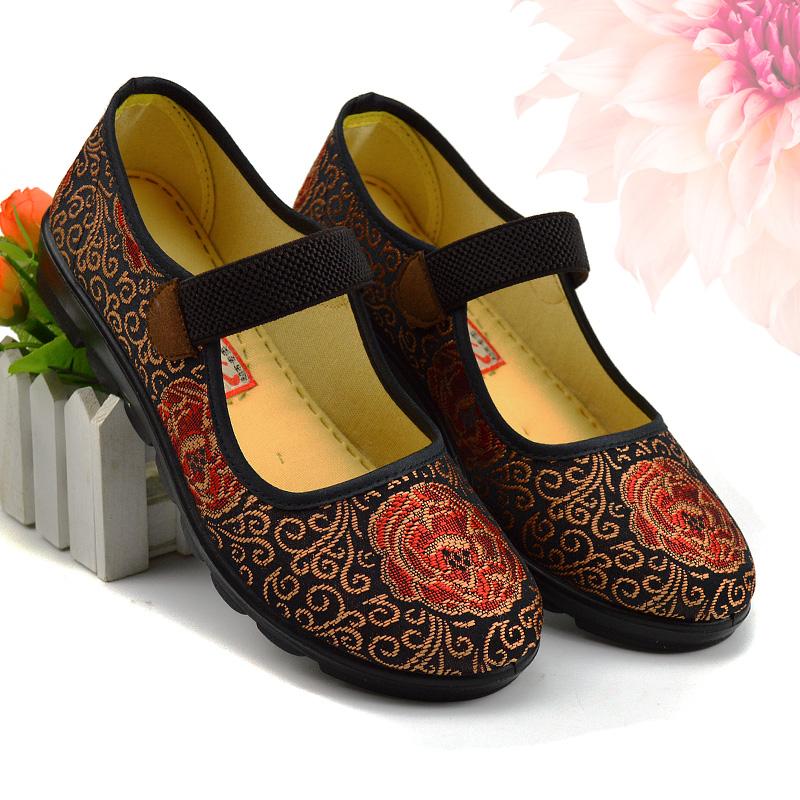 老北京布鞋女媽媽單鞋中老年防滑軟底休閒舒適平跟奶奶老人鞋平底