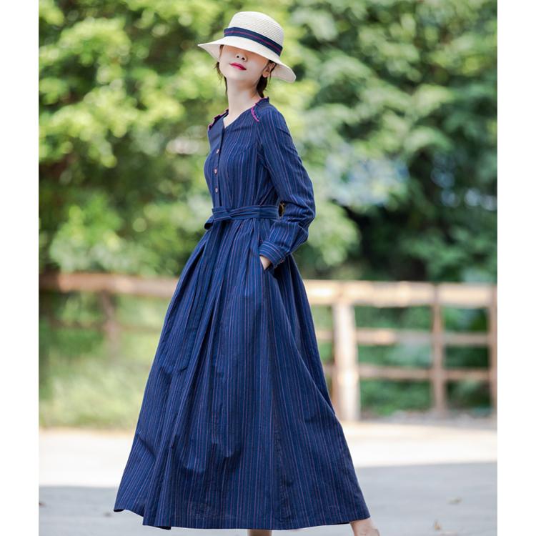 原创设计精品早秋新款文艺范条纹长款连衣裙腰带款收腰气质