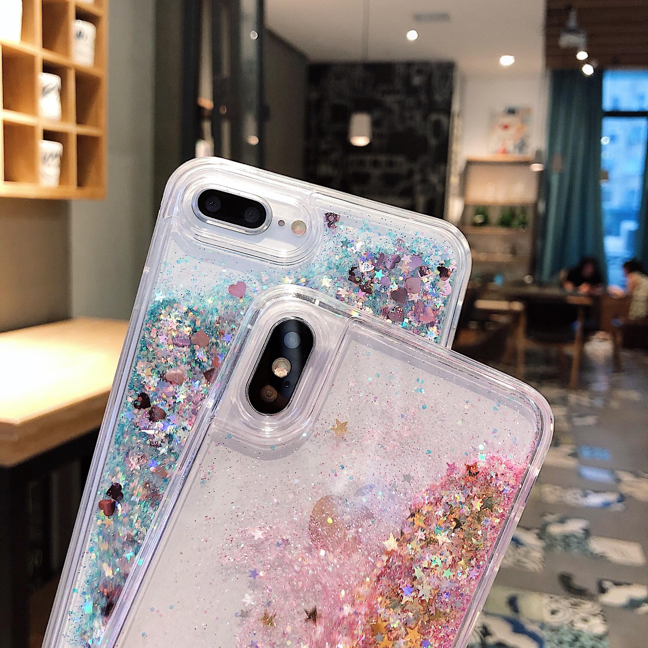 ins网红液体iphonexsmax流沙手机壳7plus硅胶软6splus全包xs女款苹果11promax手机保护套XR个性8plus透明会动