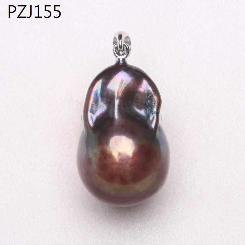 淡水孔雀绿巴洛克异形珍珠吊坠 s925银怪色项链吊坠 不规