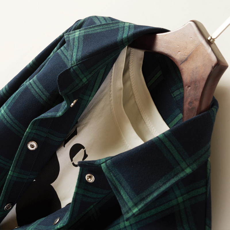格子衬衫女外套中长款长袖2021新款春秋宽松韩版加厚复古休闲衬衣主图