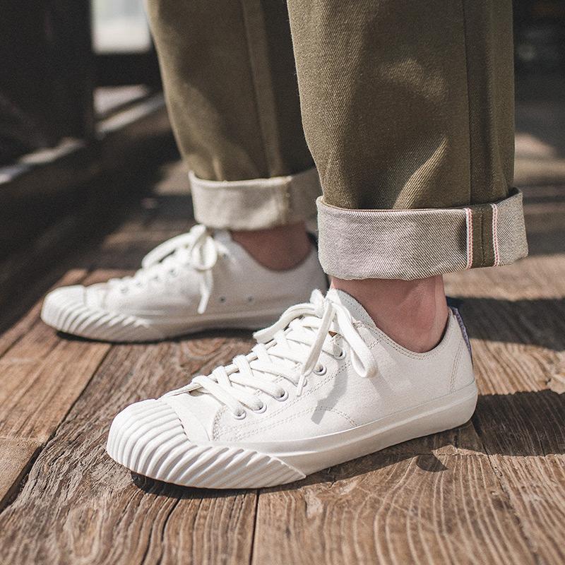 日本冈山帆布鞋男chic复古潮流百搭休闲鞋魔术贴设计久留米硫化鞋