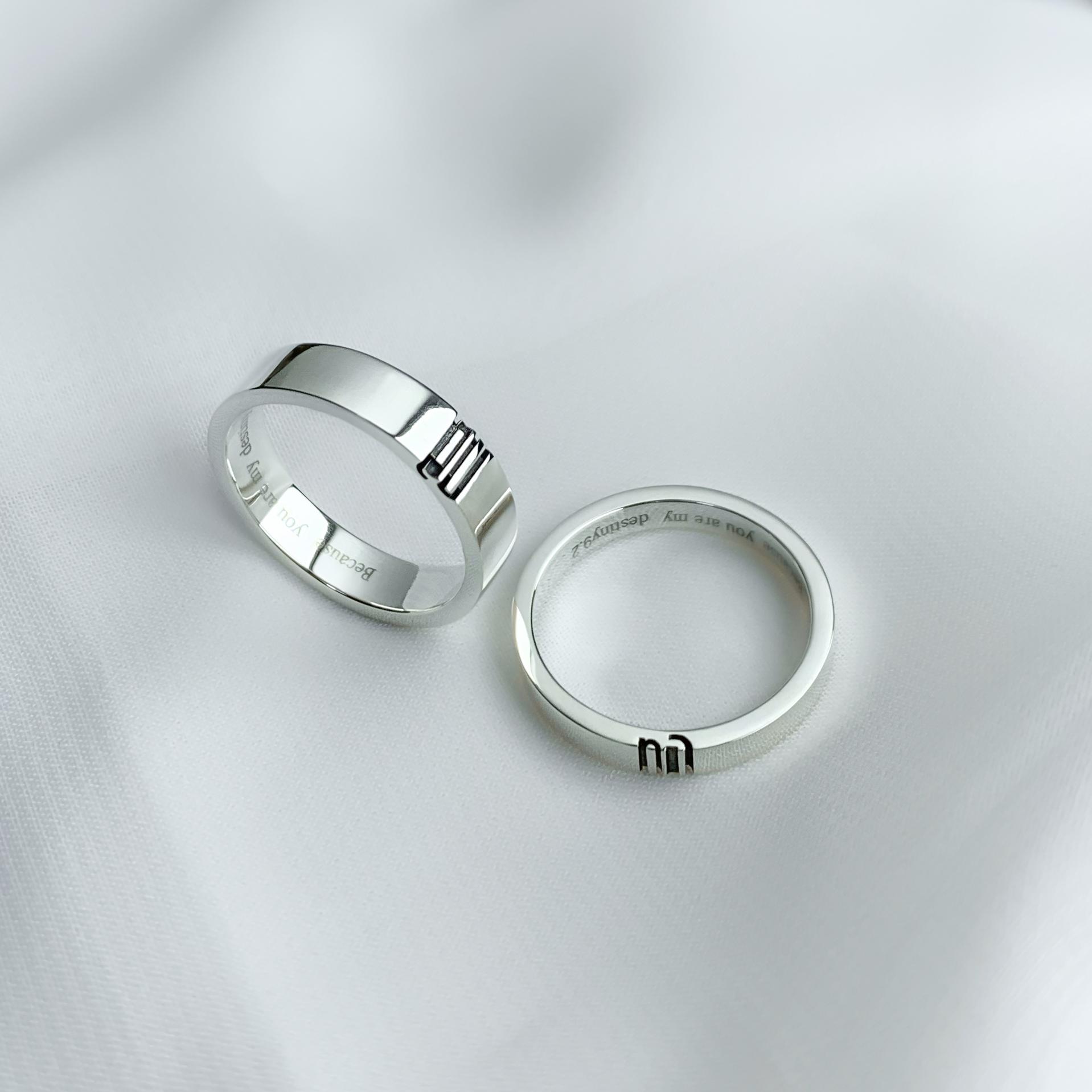 原创设计情侣字母戒指 异地恋结婚对戒  纯银一对定制刻字小众男女