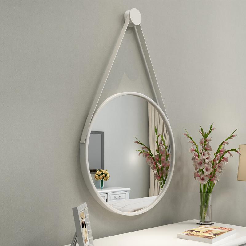 北欧香槟金色挂镜子圆形壁挂简约装饰金属边框浴室卫生间艺术圆镜