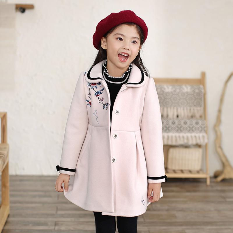 布布发现童装秋季儿童呢大衣女童中长毛款中国风冬季呢料外套呢子
