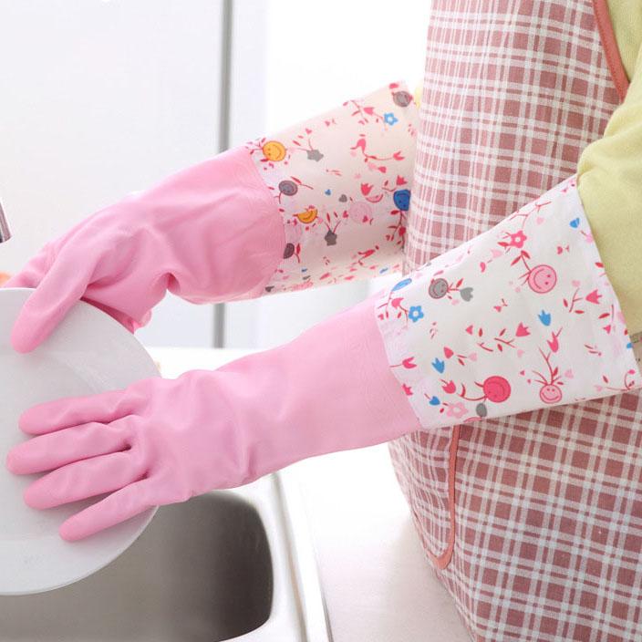 冬季家务防水手套厚款厨房洗碗洗衣乳胶手套加绒橡胶手套长夏薄款