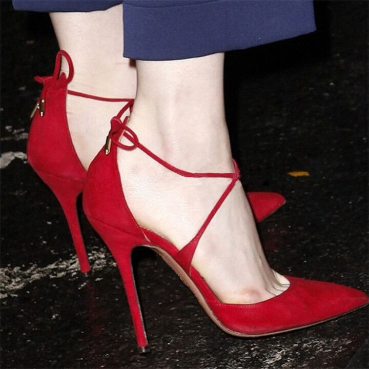 2019夏歐美新款交叉綁帶高跟鞋細跟性感尖頭淺口單鞋紅色系帶女鞋