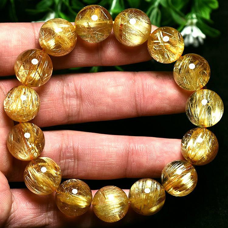 巴西天然水晶金发晶手链 男女 一物一图 顺发猫眼钛晶黄发晶手串