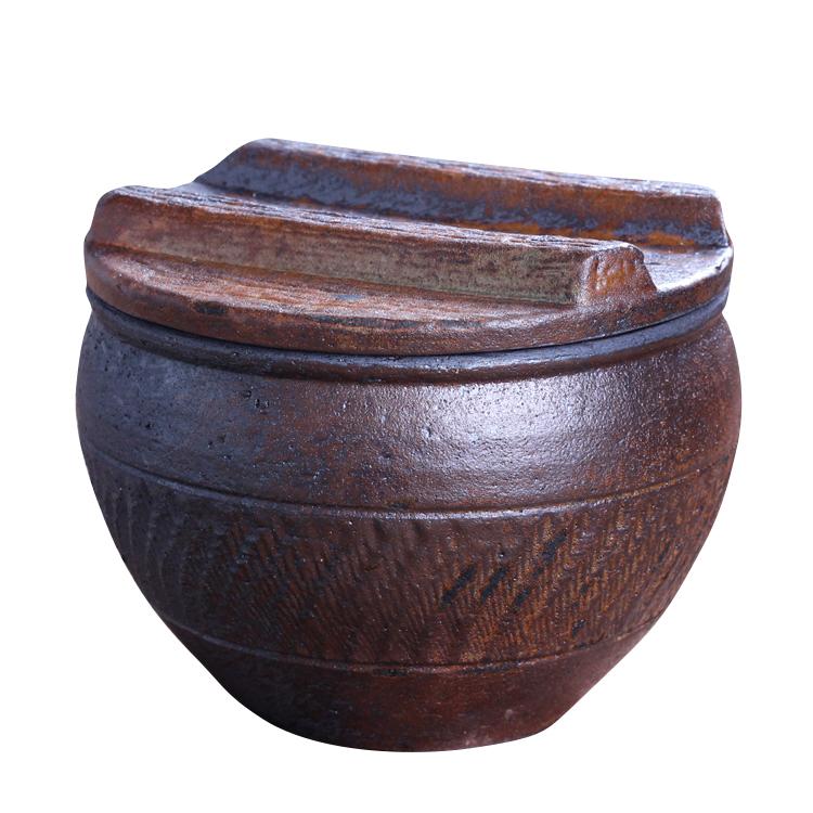 柴烧窑变茶具 锡纸密封水缸茶叶储存罐 米缸粗陶普洱茶醒茶陶罐
