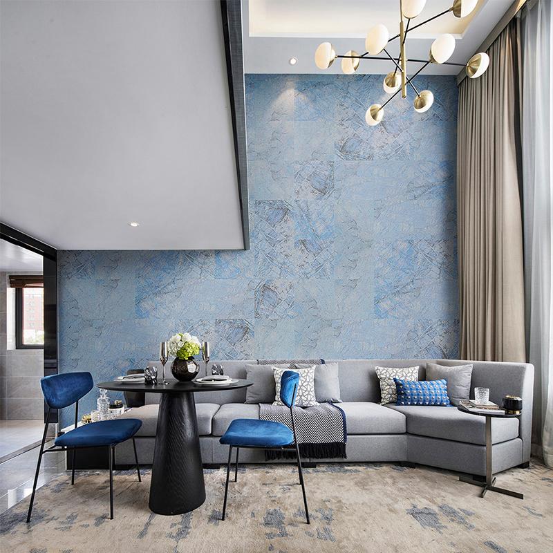 仿石材大理石纹壁纸蓝色 卷德国进口工业风墙纸 5 玛撒 MASAR