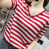 Ice silk striped short-sleeved t-shirt female 20 summer new fashion wild loose loose slim V-neck silk sweater top