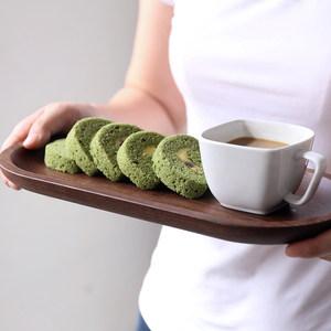 川岛屋黑胡桃木托盘实木长方形家用水杯子茶杯托盘日式木盘子餐具