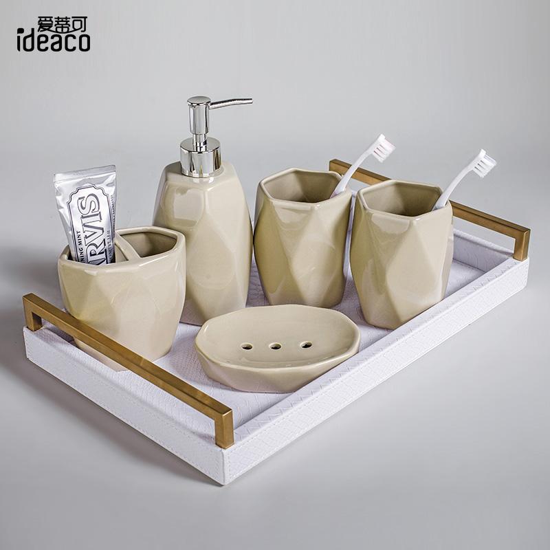北欧ins卫浴五件套陶瓷简约牙杯漱口杯创意新婚情侣礼物洗漱套装