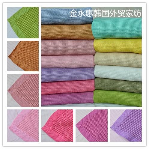 促銷韓國素色針織純棉蜂巢狀氧氣被夏涼被空調被柔軟透氣薄被床墊