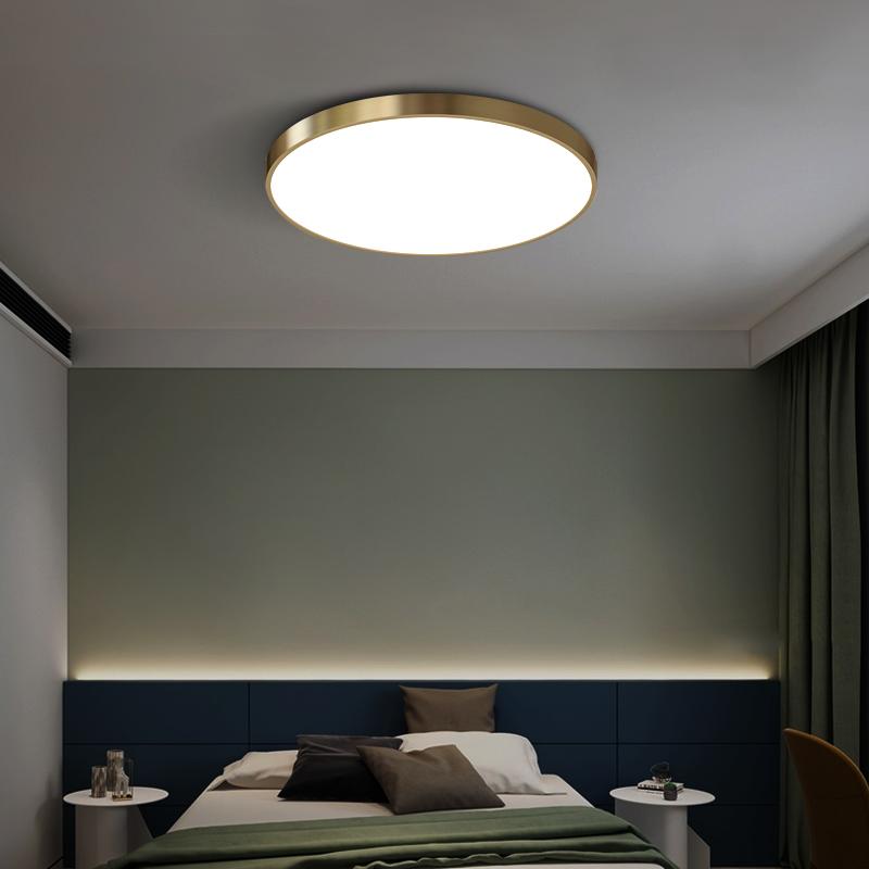 吸顶灯简约现代卧室房间过道灯书房客房阳台圆形灯具节能 led 全铜