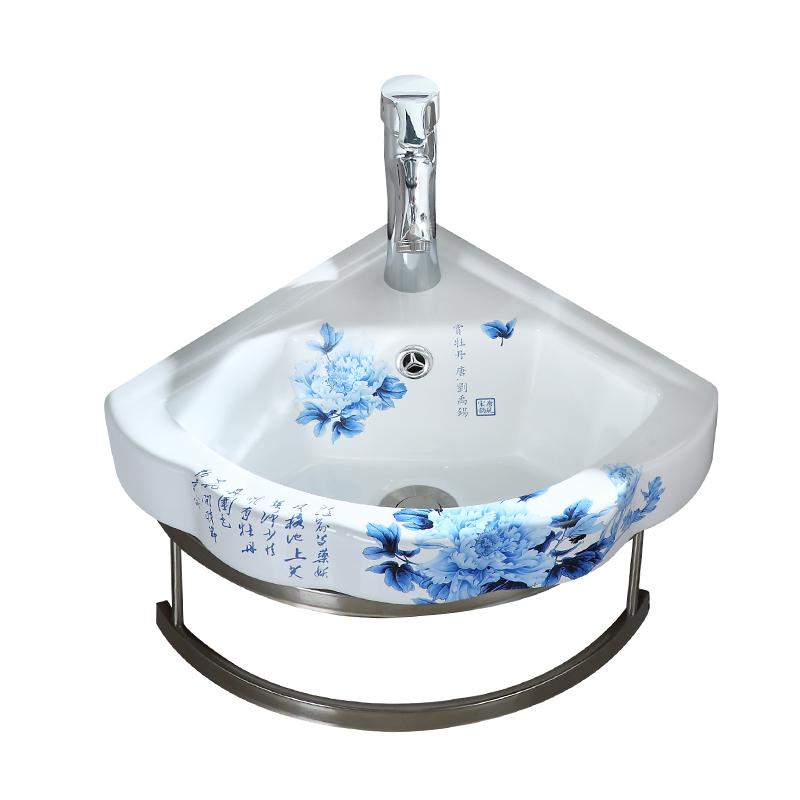 挂墙式洗脸盆迷你支架盆阳台挂盆小户型卫生间挂式洗手盆三角陶瓷