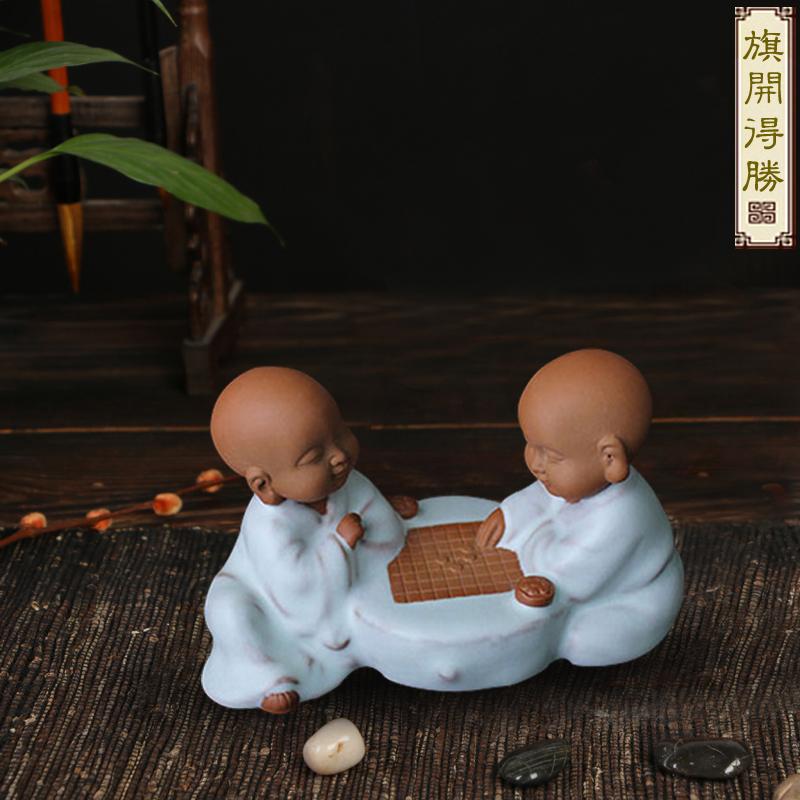 创意紫砂三不小和尚下棋小沙弥陶瓷茶宠旗开得胜茶道家居客厅摆件