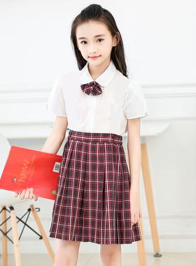 深圳市小学生校服礼服正品男女短袖衬衫春夏短裙套装格子短裤制服