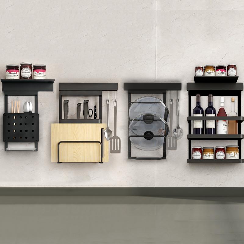 黑色厨房置物架壁挂锅盖免打孔墙上调料架碗筷收纳盒调味菜板刀架