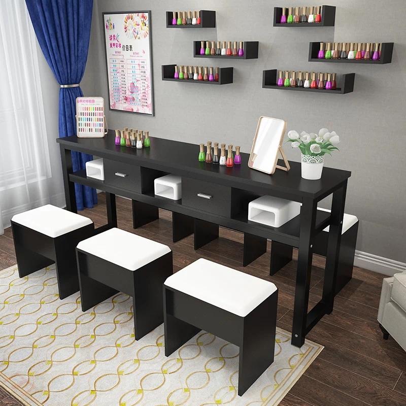 新款简易美甲桌单人化妆桌双人美甲台三人美甲桌椅套装双层指甲桌
