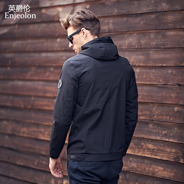 2021 new spring men's jacket trend casual hooded spring autumn men's clothing jacket solid color spring dress tide