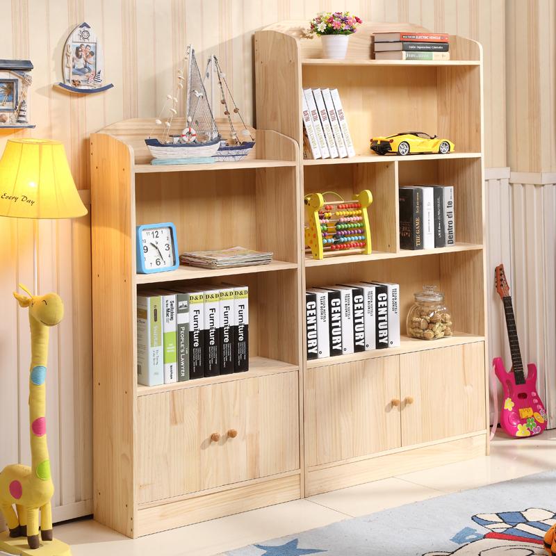 實木兒童書架書櫃松木學生書櫃帶門書櫥臥室儲物櫃置物架收納櫃