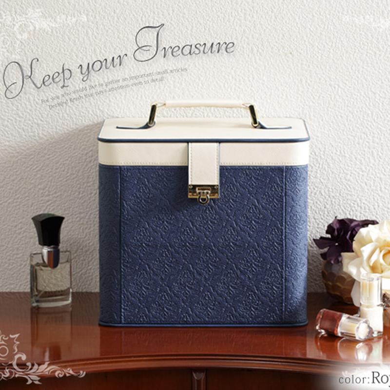 欧式化妆品收纳盒带镜子家用 韩国公主木制手提化妆盒有盖防尘