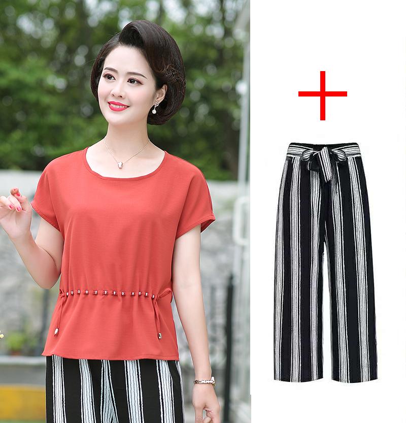 中老年短袖 恤女装宽松夏季韩版蝙蝠衫短款时尚两件套装七分裤裙  t