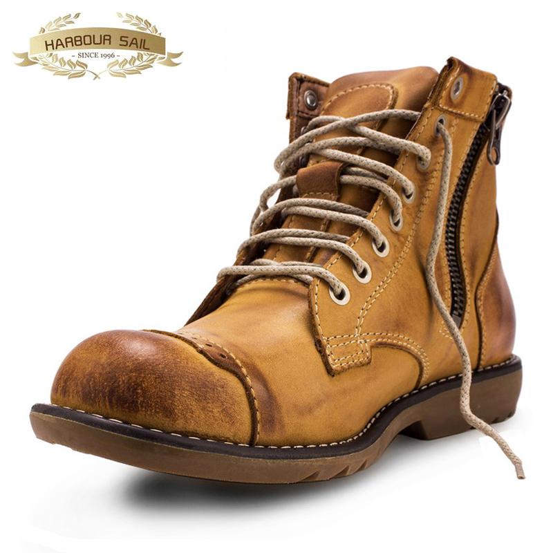 马丁靴男靴秋冬季英伦真皮机车短靴复古拉链加绒保暖高帮工装鞋潮