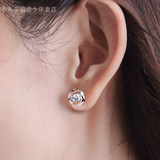 PT950 platinum Jin Mosang stone earrings in 18K white gold and diamond earrings female jewelry earrings simple Valentine's Day gift