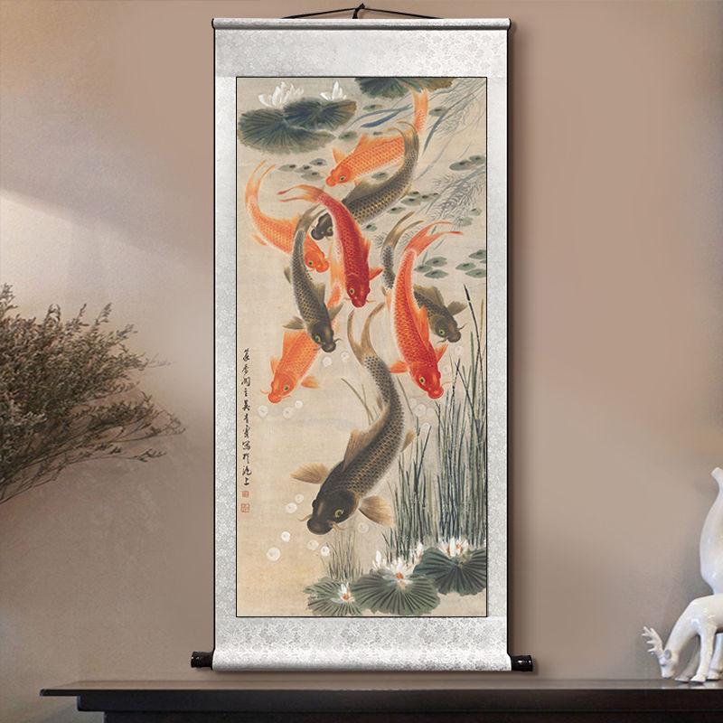 九魚聚財圖玄關掛畫裝飾畫走廊過道年年有余大廳沙發裝飾畫卷軸畫