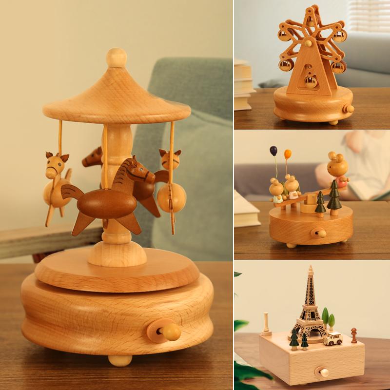 旋转木马音乐盒水晶球八音盒女木质天空之城定制儿童生日礼物女生